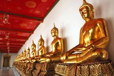 Buddhas Row At Wat Pho Royalty Free Stock Photo