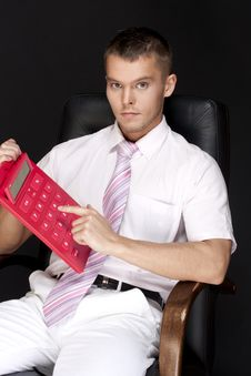 Free Businessman With Calculator Stock Images - 13777054