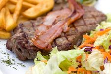 Free Sirloin Steak With Bacon,chips ,mushrooms,salad Stock Image - 13778061