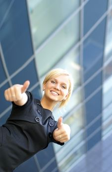 Free Businesswoman Holding Thumbs Up Royalty Free Stock Photo - 13778745
