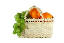 Free Basket Full Of Grapes And Oranges Stock Image - 13779591