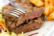 Free Sirloin Steak With Chips ,mushrooms,salad Stock Image - 13780141