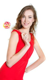 Young Woman With Big Lollipop Stock Photos