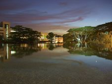 Free Hort Park S Pond By Night Stock Photo - 13780430