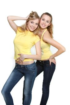 Two Young Happy Girls Royalty Free Stock Photo