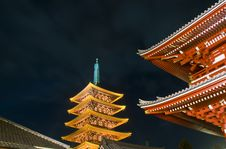 Sensoji Buddhist Temple At Night Stock Photography