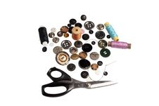 Scissors,  Lot Of Buttons And Threads Stock Image