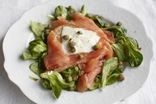 Free Smoked Salmon Salad With Blinis And Capers Stock Images - 13781414