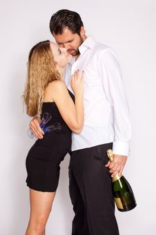 Happy Young Couple With Champagne Stock Photo