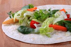 Free Fresh Vegetable Salad On Tortilla Stock Photos - 13781983