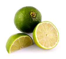 Lime Whole Half And Quarter Royalty Free Stock Photos