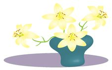 Free Light Yellow Lily With 3d Vase. Stock Photography - 13782832