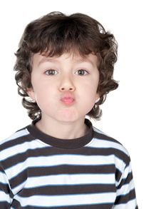 Free Funny Child With Striped Shirt Royalty Free Stock Photo - 13783205