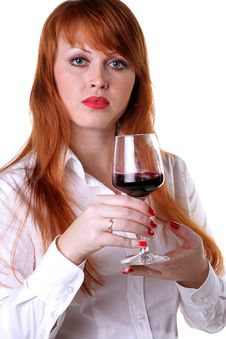 Free Beautiful Redhead Girl With A Glass Of Red Wine Royalty Free Stock Images - 13783419