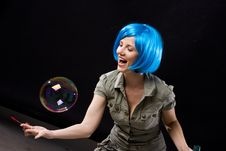Free Woman With Bubbles Stock Photos - 13783443