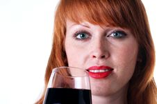 Free Beautiful Redhead Girl With A Glass Of Red Wine Stock Image - 13783461