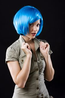 Free Woman In Blue Wig Stock Photography - 13783462