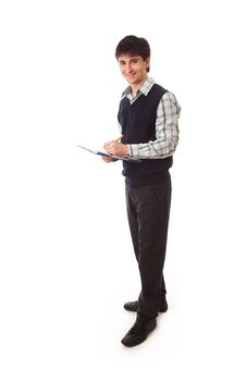 Free The Young Businessman Isolated On A White Royalty Free Stock Photography - 13783467