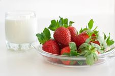 Strawberries And Milk Royalty Free Stock Image