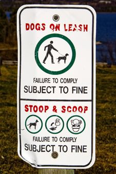 Pooper Scooper Warning Sign Stock Photos