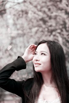 Young Woman In Spring Stock Photo