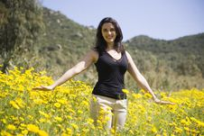 Free Spring Woman With Yellow Flowers Stock Images - 13785624
