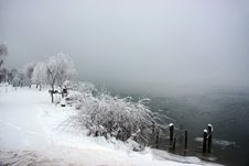 Free Snowy Misty Day Near A Lake Royalty Free Stock Image - 13786126