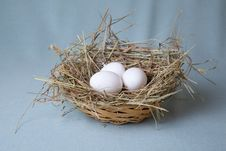 Free Three Eggs Lies In Basket Stock Image - 13786211