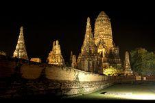 Free Night Of Ayutthaya Royalty Free Stock Photos - 13786788