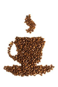 Free Shape Cup Of Coffee Beans Royalty Free Stock Images - 13787359