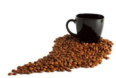 Free Black Cup And Coffee Beans Stock Photography - 13787412