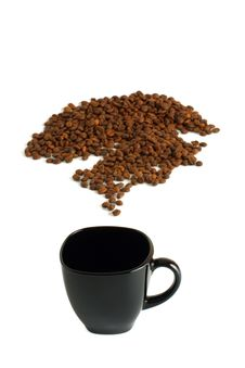 Free Black Cup And Coffee Beans Stock Images - 13787414