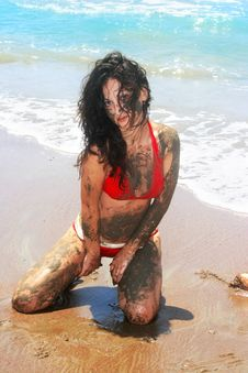 Free Dirty Girl On Beach Stock Photography - 13787452