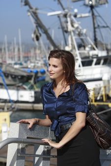 Pretty Woman In Harbor Village In Lifestyle Stock Photo