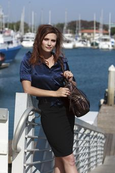 Pretty Woman In Harbor Village In Lifestyle Stock Photography