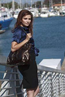 Pretty Woman In Harbor Village In Lifestyle Stock Images