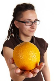 Free Girl Give An Orange Stock Photography - 13788342