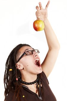 Free Girl Trying To Eat Apple Royalty Free Stock Images - 13788429