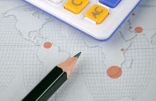 Free World Map, Pencil And Calculator Stock Photography - 13788482