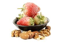 Frozen Strawberries And Nuts Stock Image