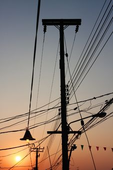Free Sunset Of Electricity Post Stock Image - 13789161