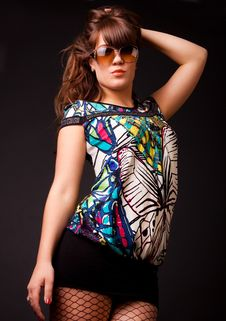 Free Stylish Woman On Black Background Stock Photos - 13789373
