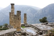 Ancient Pillars In Delphi Royalty Free Stock Photo