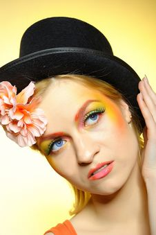 Fashion Woman With Creative Eye Make-up Royalty Free Stock Images