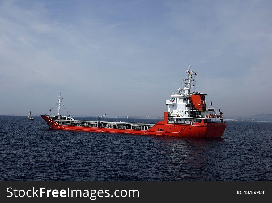 Cargo ship anchored