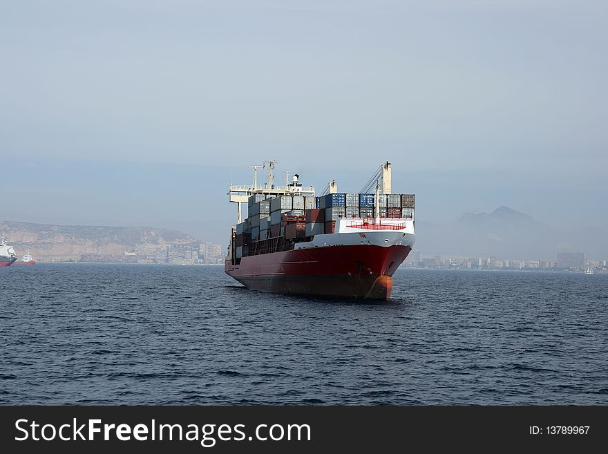 Container ship anchored