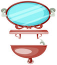 Free Shelf In A Bathroom With Mirror And Sink Royalty Free Stock Images - 13791659