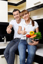 Free Smiling Couple On Kitchen Royalty Free Stock Photos - 13798808