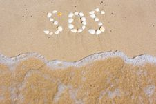 Free SOS In Sand Stock Photography - 13790052