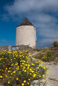Old Windmill Against The Sky Surrounded By Flowers Stock Images